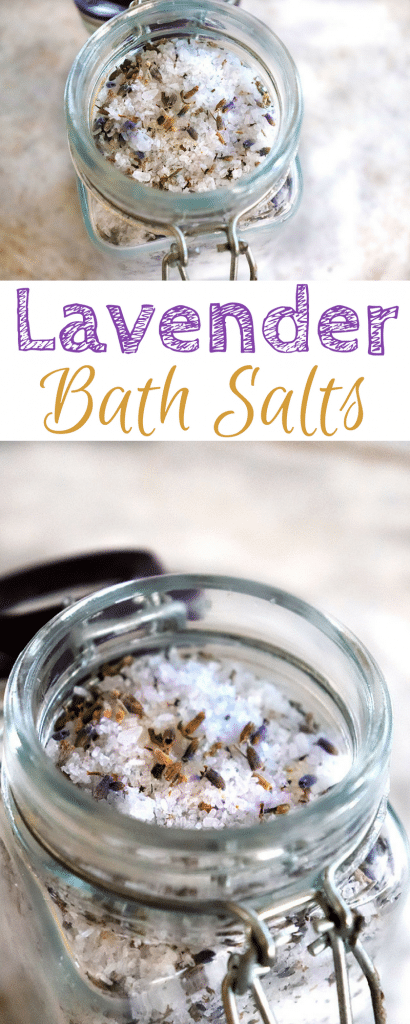 DIY Lavender Bath Salts with real lavender buds