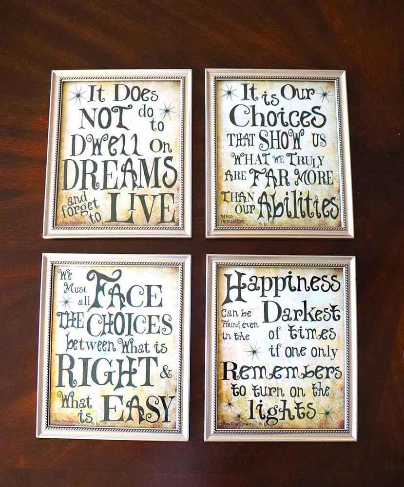 Harry Potter sayings and quotes prints from Amazon Homemade