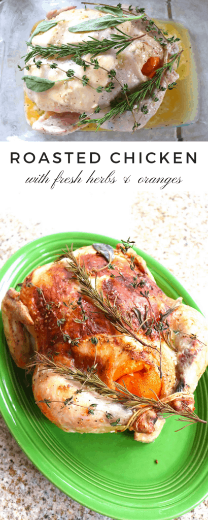 Whole Roasted Chicken with fresh herbs and oranges