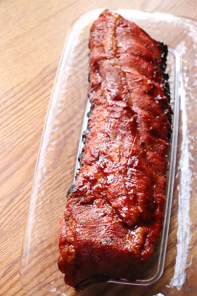 Tender pork back ribs with a cherry bbq sauce