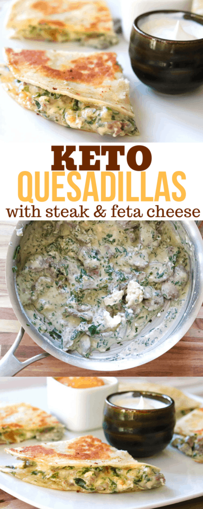Keto Quesadillas with steak and feta cheese - with 9.7g net carbs.