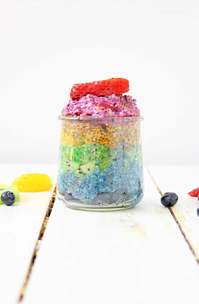 Naturally colored and flavored chia fruit pudding