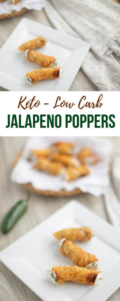 how to make keto - low carb jalapeno poppers with chicken skin, roasted jalapenos, and cream cheese. Each popper is 91 calories, 8 grams of fat, and 0.7 net carbs.