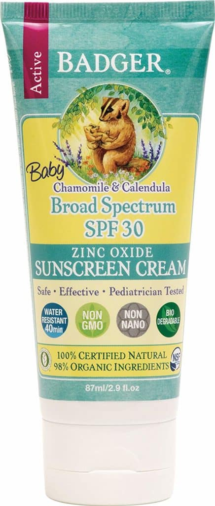 badger baby chamomile and calendula broad spectrum spf 30 zinc oxide sunscreen cream