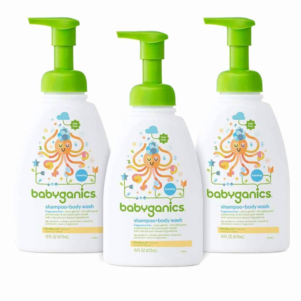 babyganics shampoo and body wash bottles