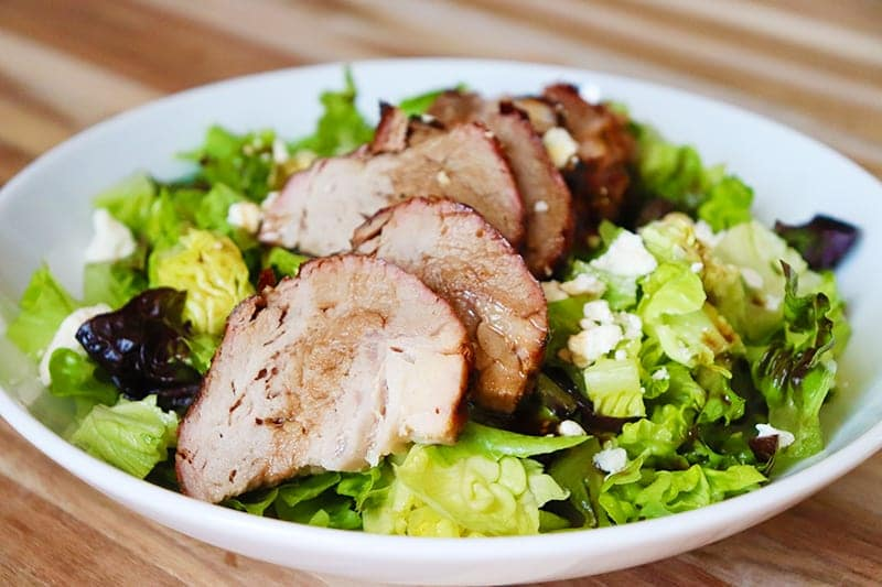 Grilled pork tenderloin salad made with fresh grilled pork.