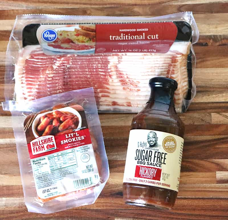 Kroger traditional cut bacon, G Hughes sugar free hickory flavored bbq sauce and a package of lit'l smokies from hillshire farms