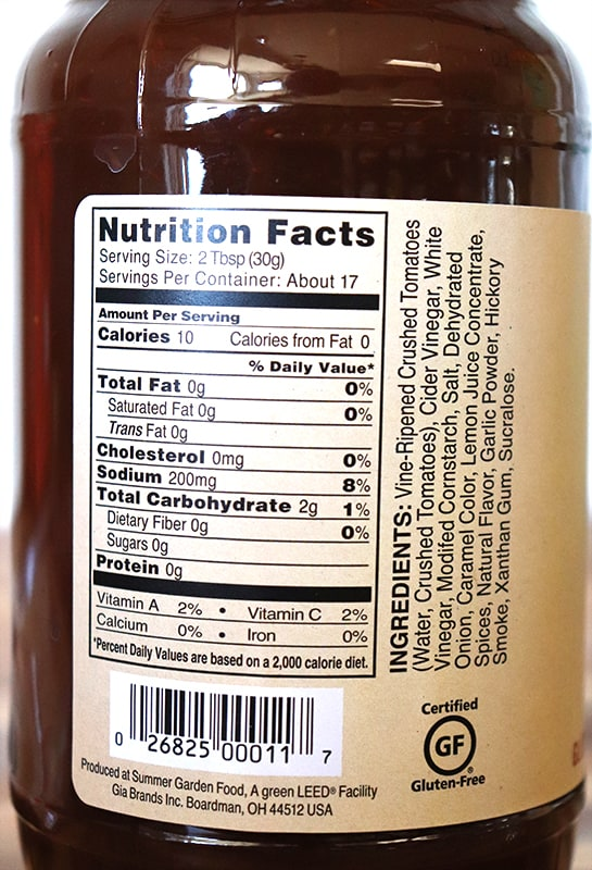 G Hughes hickory smoked bbq sauce nutritional label with ingredients