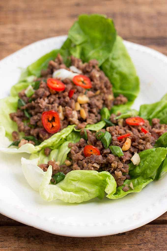 Asian Inspired Ground Beef Lettuce Wraps | Foodal