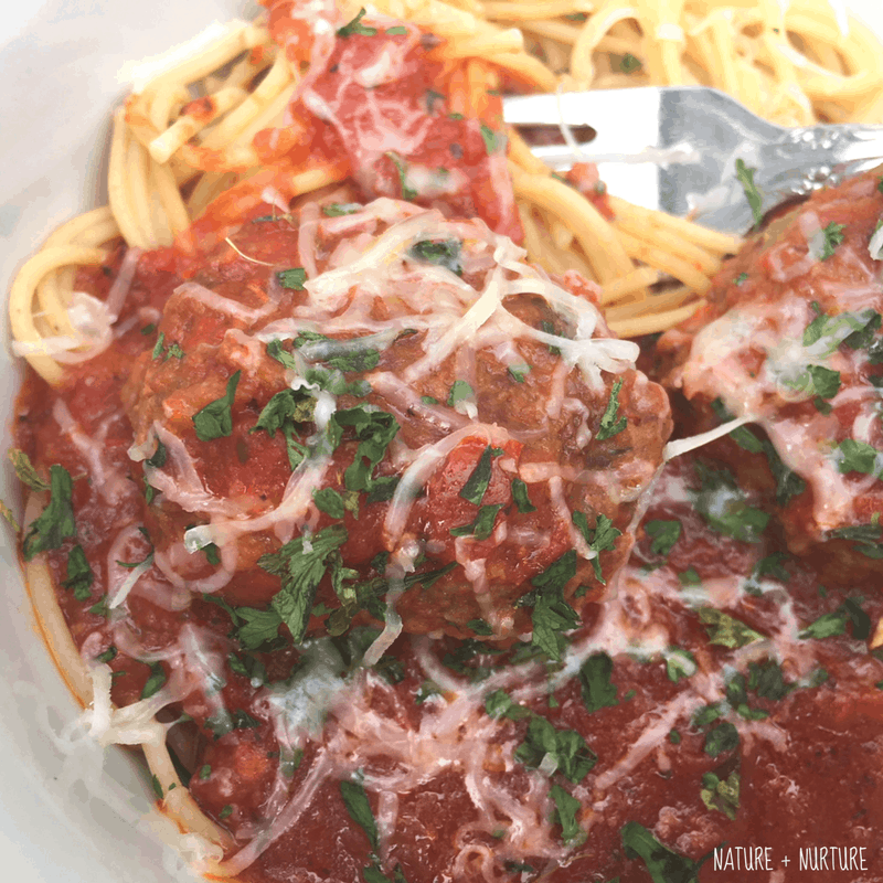 Cheesy, Garlic Spaghetti & Meatballs with Marinara | Healthy Christian Home