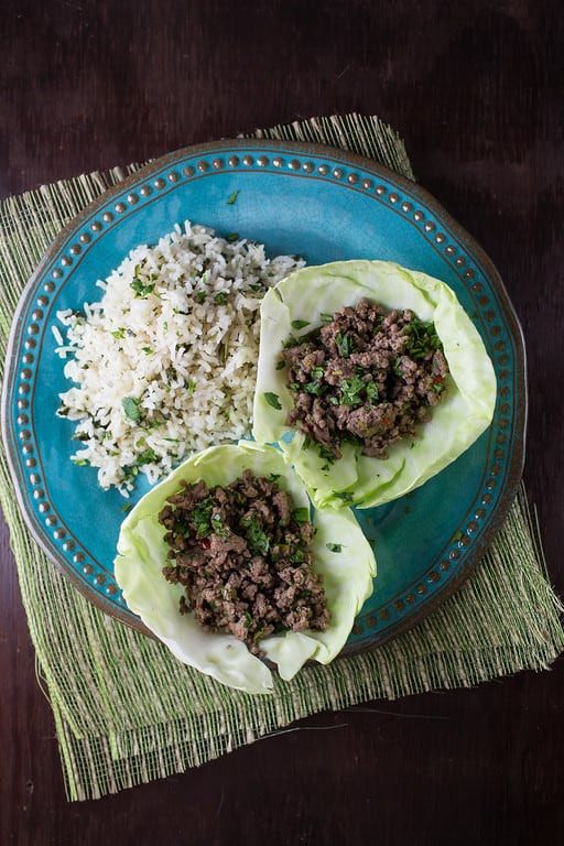Thai Beef Cabbage Wraps | Sidewalk Shoes