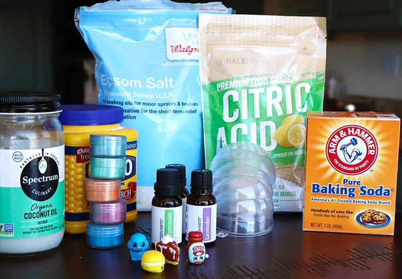 Ingredients to make homemade bath bombs for kids