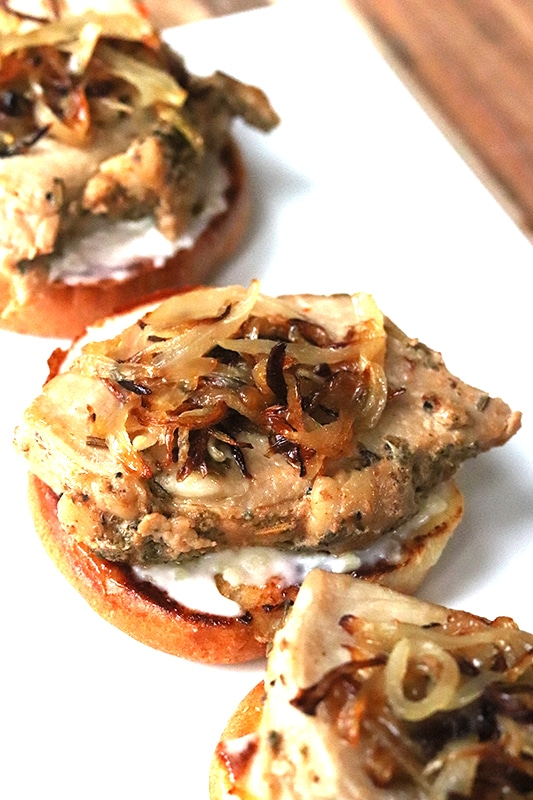 Instant Pot Pork Loin Sliders with caramelized onions
