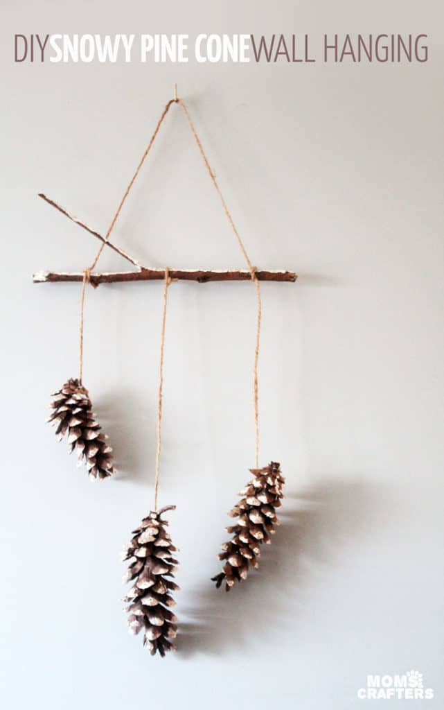 DIY Snowy Pine Cone Wall Hanging