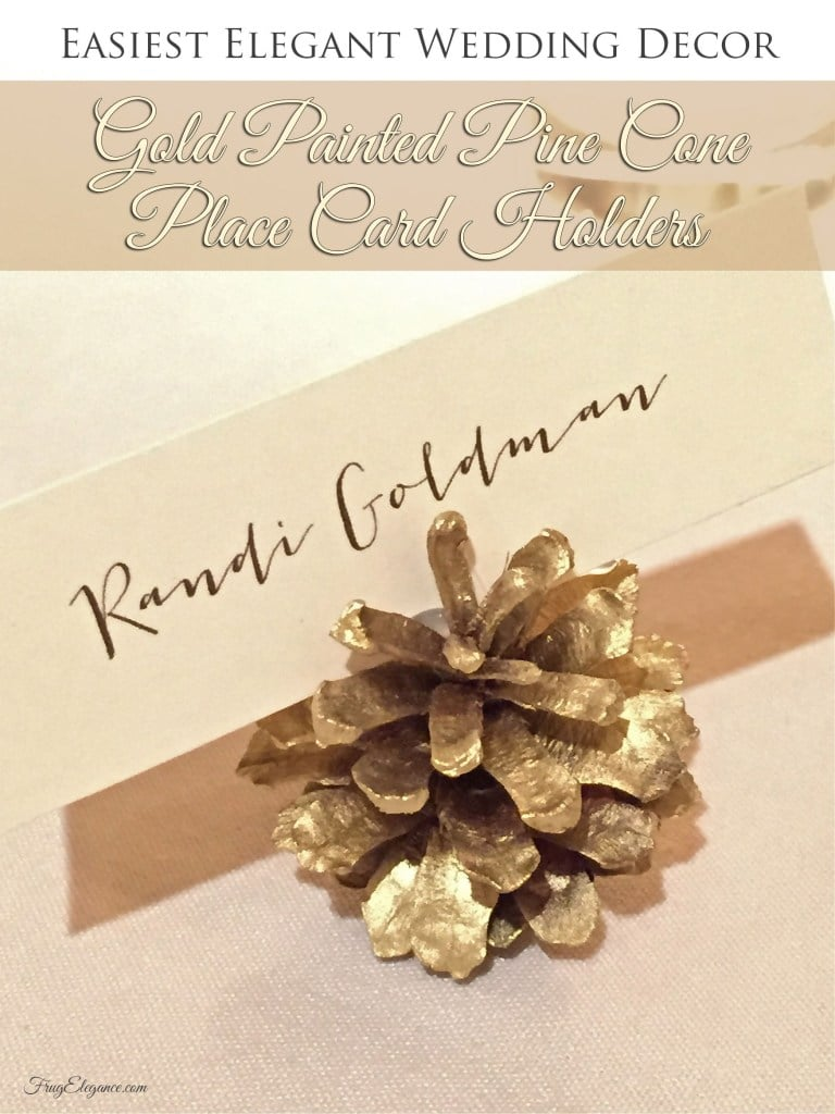 Gold Pine Cone Place Cards