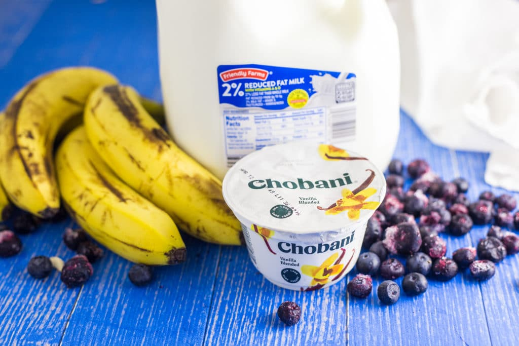 Ingredients for Banana Blueberry Smoothie Bowl